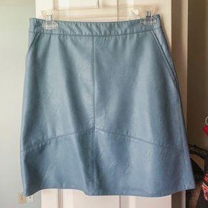 Zara faux leather light blue skirt